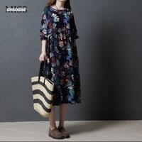 MISSFEBPLUM Casual Loose Vintage Dresses Plus Size Cotton Linen Maxi Long Dress 2017 Summer Plus Size