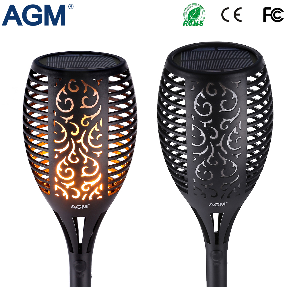 Agm Led Solar Garden Flame Torch Light Flicker Candle