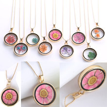 Best Pressed Flower Pendant Necklace Glass Ball Cheap
