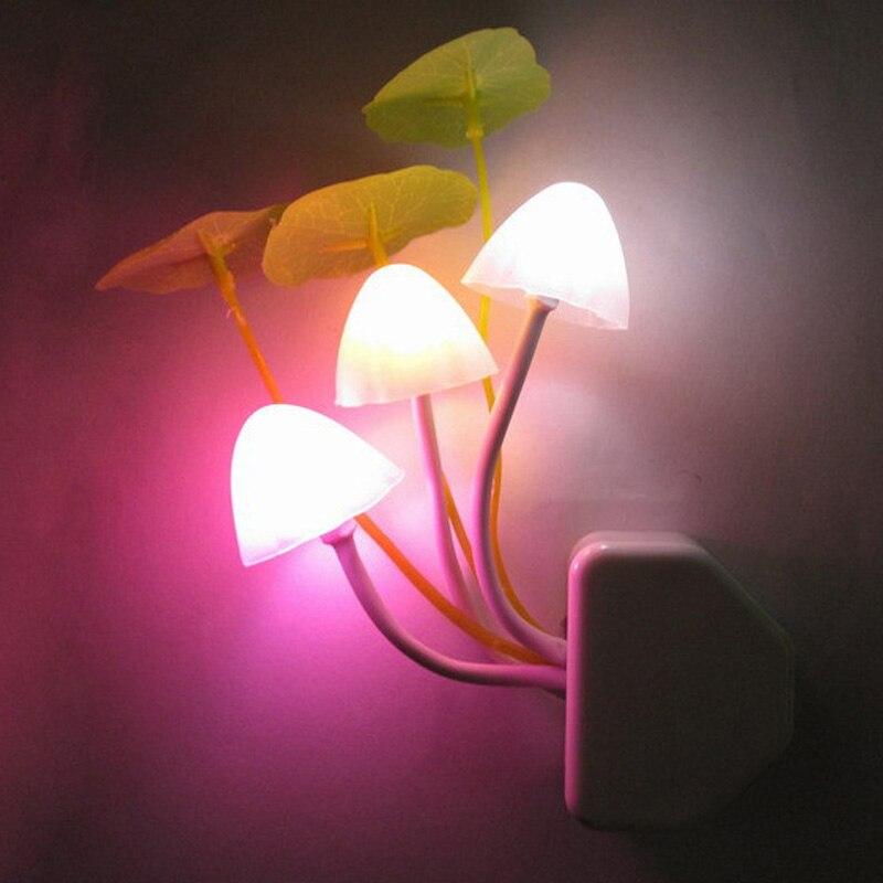 Новинка гриб ночник ЕС и США плагин Light Сенсор AC110V-220V 3 LED красочный гриб лампы светодиодные Ночные светильники для детские