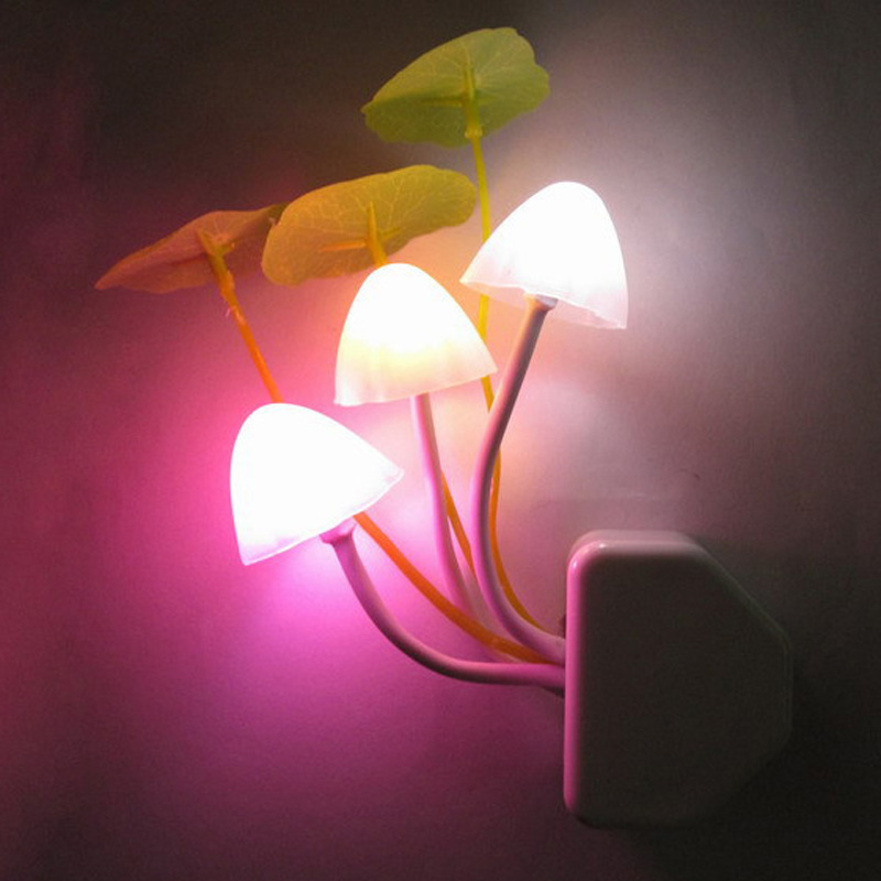 Novelty Mushroom Fungus Night Light EU & US Plug Light Sensor AC110V-220V 3 LED Colorful Mushroom Lamp Led Night Lights for baby opk ds967 bracelet black page 9