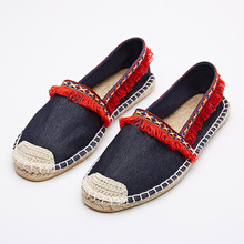 The autumn of 2016 the new female National Cowboy tassel pedal lazy fisherman flat rope leisure shoes