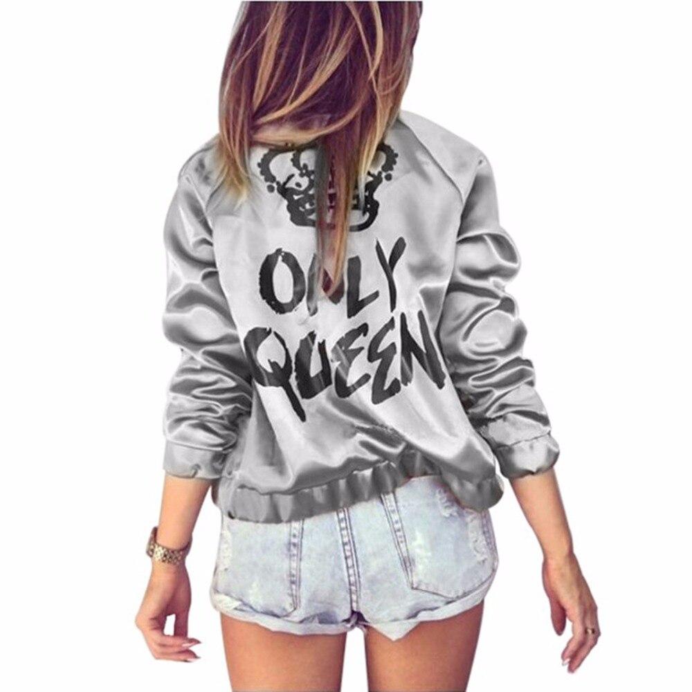 HTB1QDNKeq5s3KVjSZFNq6AD3FXal Autumn Women Bomber jacket Women Coat Crown Queen Print Long Sleeve Zipper Top Coat Biker Casual Short Outwea