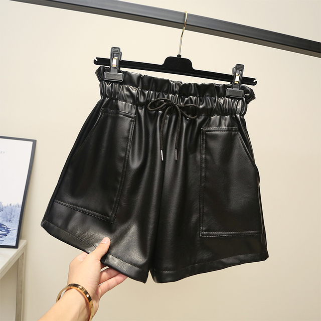 High waist leather  2018 new pu leather shorts autumn and winter wide legs wear loose casual Korean boots