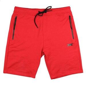 Image 2 - Pantalones cortos de algodón de alta calidad para hombre, Shorts informales de marca, a la moda, con bolsillos y cremallera, color rojo, para correr, para verano, 2019