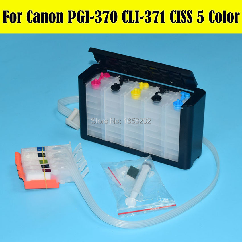 5 Color/Set PGI370 CLI371 Ciss Bulk Ink Supply System For Canon MG5730 370 371 PGI-370 Ciss With ARC Chip  6 color empty ciss sut for pgi 450 cli 451 suit for canon mg6340 mg7140 ip8740 with permanent chip free shipping