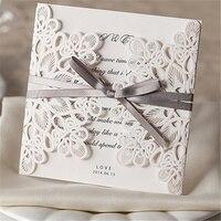 10 Stks/set Bruiloft Kant Uitnodigingen Laat Bericht Papier Kaarten Gift Card Decor Engagement Dag Card Uitnodigingen Kaart 14.3*14.5 CM