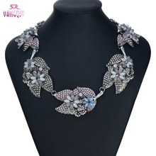 ZA Luxury Collar Women Big Resin Flowers Pendant Necklaces Antique silver Plated Chains Chokers Statement Necklaces