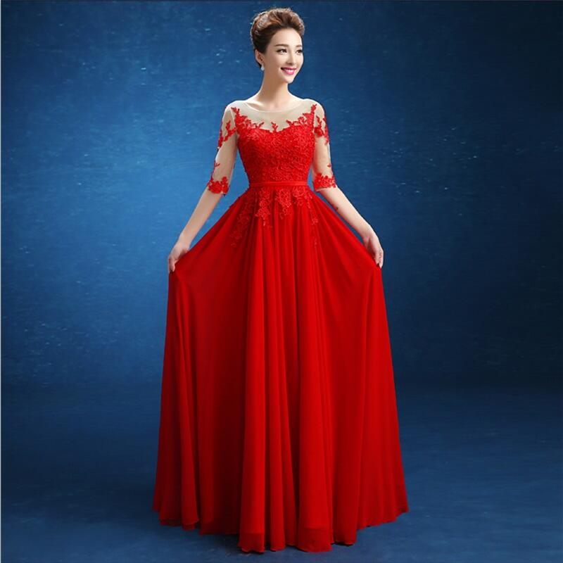 Chiffon Embroidery Half Sleeve Wedding Party Party Dress