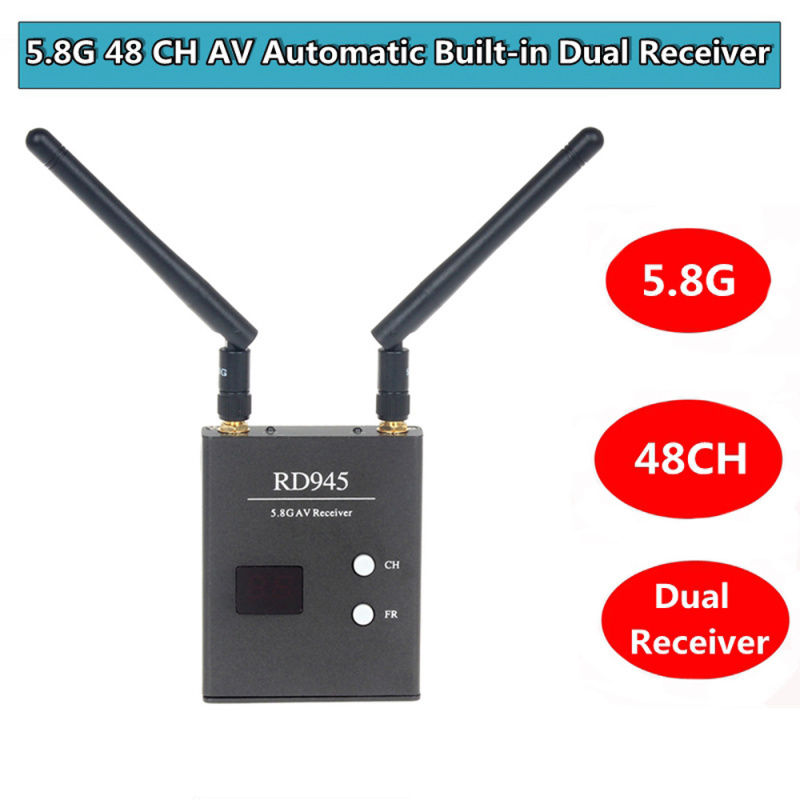 Blueskysea 48CH 5.8G RD945 FPV Wireless AV Receiver With Led Channel Display Dual Antenna fpv wireless 5 8g 48ch rd945 dual diversity receiver with a v and power cables for fpv racing drone rc airplane toys part
