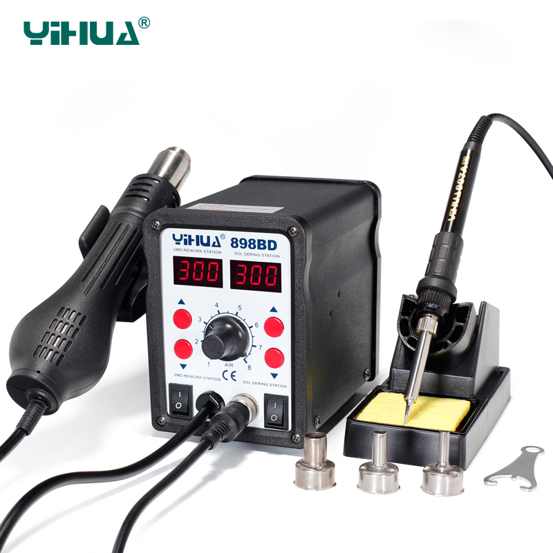YIHUA 898BD Stable Temperature Control Heat Gun Air Soldering Station And Iron For Phone Repair yihua 862d 110v 220v 720w constant temperature antistatic soldering station solder iron heat air gun