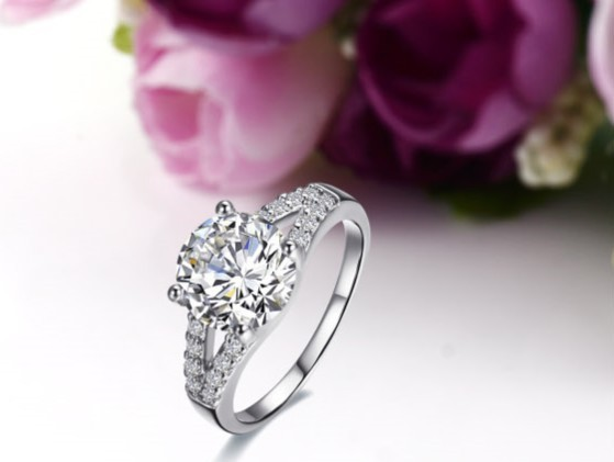 2014 2ct Excellent Cut Paved Synthetic Diamonds Ring For Women Engagement Sterling Silver Jewelry Designer Women Factory Selling Wedding & Engagement Jewelry Engagement Rings