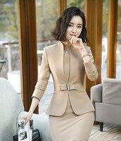 Blazer With Dress Women 2018 New Spring Autumn Female Long Sleeve Formal Office Elegant Coat Women