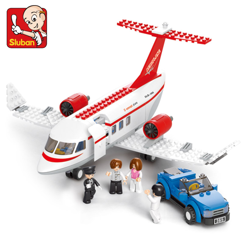 Sluban model B0365 building kits compatible with legoe city plane 717 3D blocks Educational building toys hobbies for children