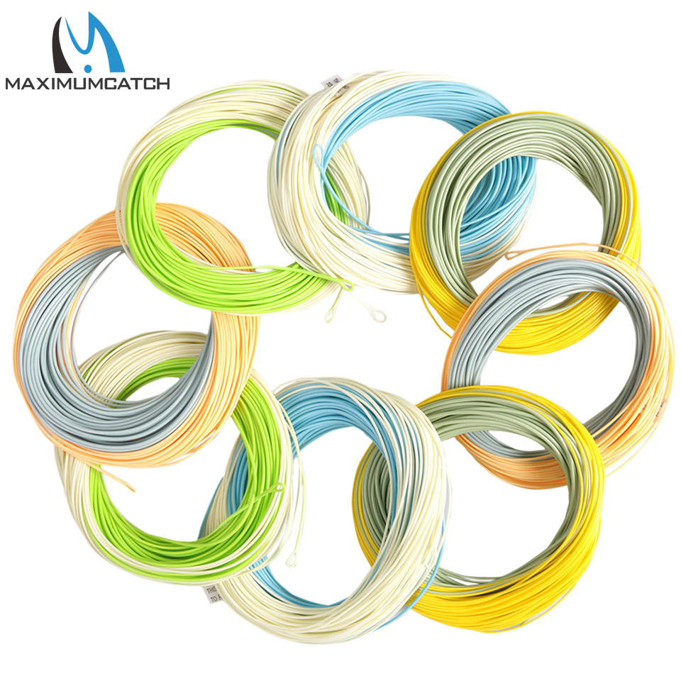 Maximumcatch 100FT Double Color Fly Line WF Floating With Two Welded Loops maximumcatch shooting head fly line 5s 6s 7s 8s 10f 9 5m floating sinking fly line with 2 welded loops