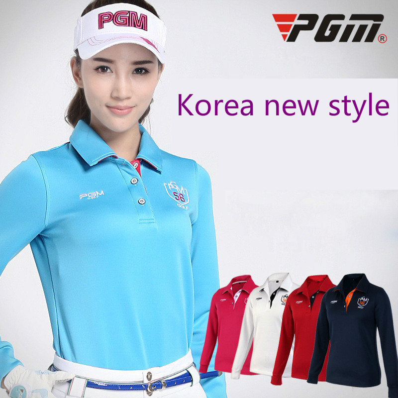 2018 PGM products style ladies T-shirts Breathable golf long sleeved womens jerseys Lady High Elastic sport shirt size S-XL