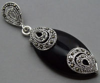 Free Shipping 925 STERLING SILVER BLACK  MARCASITE PENDANT 18x40MM