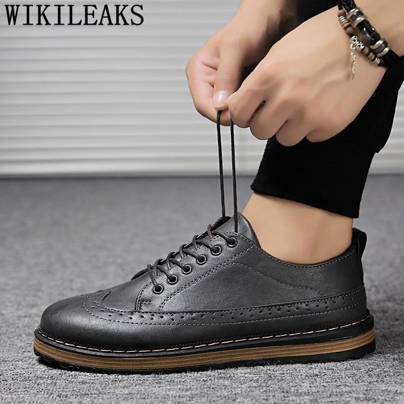 Italian Classic Men Brogue Shoes Men Formal Wedding Dress Oxfords Shoes For Men British Men Leather Shoes Black Platform Shoes