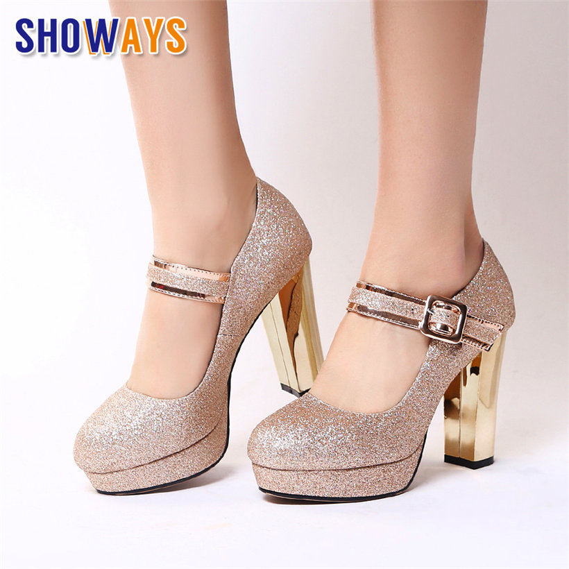 Silver Gold Sequined Cloth Wedding Women Platform Pumps High Block Heels Round Toe Buckle Belt Mary Jane Party Office Lady Shoes