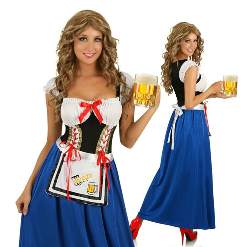 German Bavarian Beer Girl Costume Oktoberfest Costume Waitress Maid Fancy Dress Gothic Lolita Dress For Ladies Halloween Costume