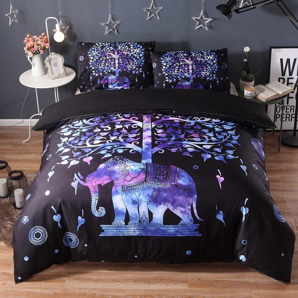 Hot Fashion ethnique éléphant housse de couette + 2 literie housse d'oreiller ensemble lit décor