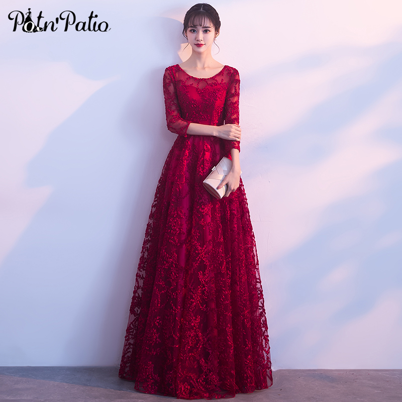 PotN'Patio Red Lace   Evening     Dresses   Elegant O-neck 3/4 Sleeves A-line Long Formal   Evening   Gown Plus Size Customized