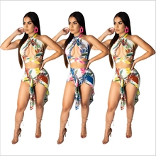 Floral Print Two Piece Set Backless Crop Top Cut Out Asymmetrical Cloak Mini Sexy Outfits Mori Girl Summer Style 2019 Strapless girl print ladder cut out tee