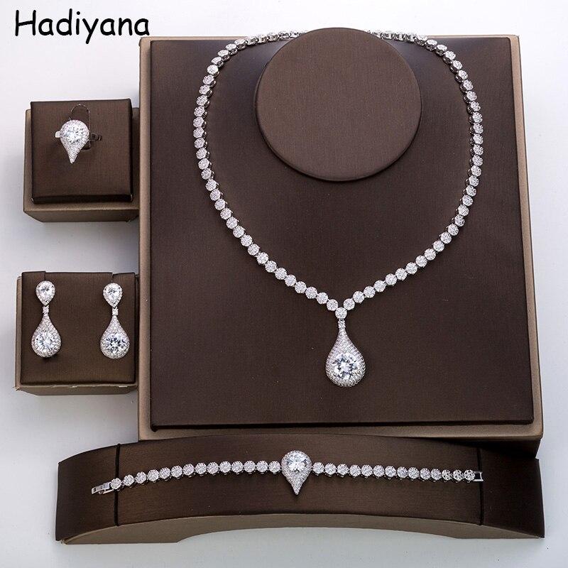 Haryanvi new fashion design zircon 4 piece set necklace ladies engagement wedding jewelry TZ8042Haryanvi new fashion design zircon 4 piece set necklace ladies engagement wedding jewelry TZ8042