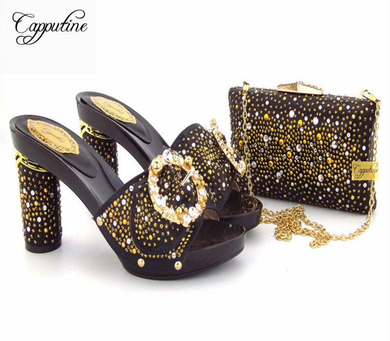 Capputine New Arrival African Rhinestones Slipper Shoes And Bag Set African Style Pumps Shoes And Bags Set For Woman Party