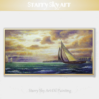 High Skills Artist Hand painted Wall Art Boats Oil Painting on Canvas Special Seascape Boat Shipping Oil Painting for Wall Decor