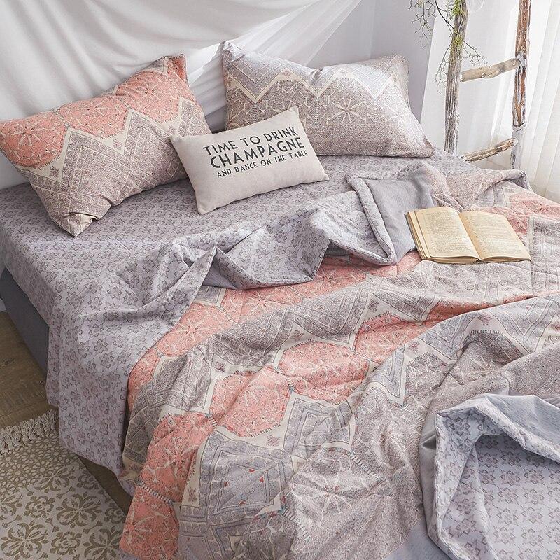 Sookie Sommer Quilt 100% Baumwolle Geometrische Blume Muster Klimaanlage Decke Tröster für Kind Erwachsene Doppel Einzigen Königin Bett-in Decken aus Heim und Garten bei  Gruppe 2