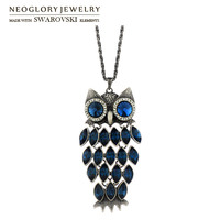 Neoglory MADE WITH SWAROVSKI ELEMENTS Crystal Auden Rhinestone Pendant Necklace Exquisite Owl Design Anti Silver Plated
