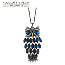 Neoglory Austria Crystal & Auden Rhinestone Owl Design Long Charm Necklace Anti Silver Plated Vintage Style Women Trendy Sale