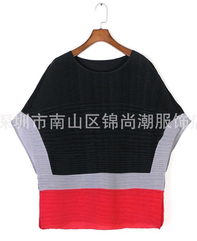 Mode Ciel Hit En souris rouge Livraison Demi Gratuite Plissé Couleur Stock Chauve Manches pu Sleevet Noir shirt ZtwESqw