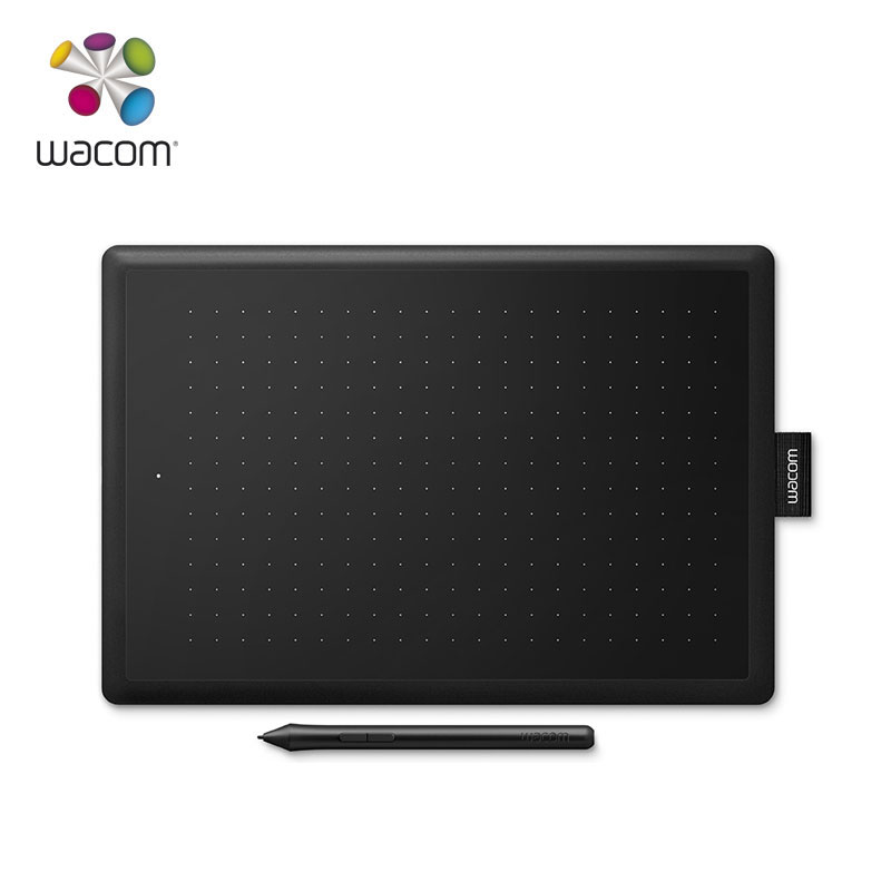 One by Wacom CTL 672/KO-F Digital Graphic Drawing Tablet 2048 Pressure Level Medium Size (Black-red) + 10Pcs Black Nibs(Free)
