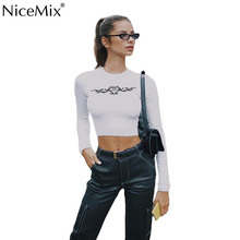 NiceMix 2019 rapwriter sexy t-shirt skinny corp top streetwear o-neck long sleeve women basic casual kniited shirt tops