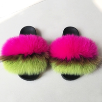 Large size Women Furry Slippers Ladies Cute Plush Fox Hair Fluffy Slippers Women's Fur Slippers for Women Comfy Furry Flip Flops