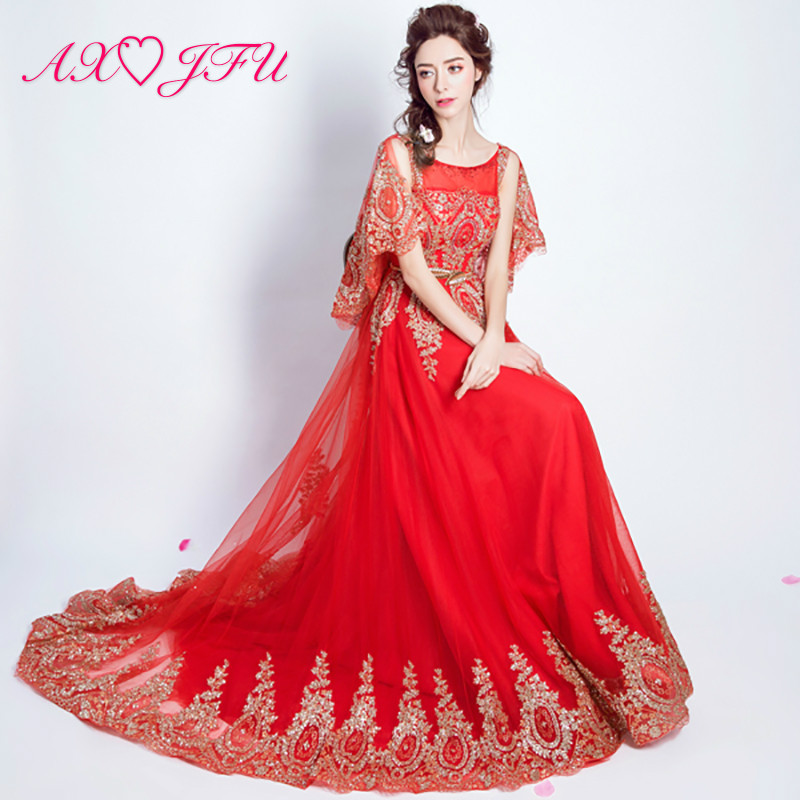 AXJFU red lace flower   evening     dress   princess vintage dubai beading Gold powder crystal long   evening     dress   5981 gold size 16
