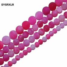 Wholesale 6MM 8MM 10MM Natural Stone Charm Pink Matte Striated Agate Round Beads Free Shipping For Jewelry Making
