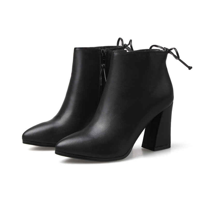 MORAZORA 2018 yeni moda sonbahar kış fermuar hakiki deri çizmeler kare topuk bileğe kadar bot kadınlar için seksi süper yüksek topuk çizmeler