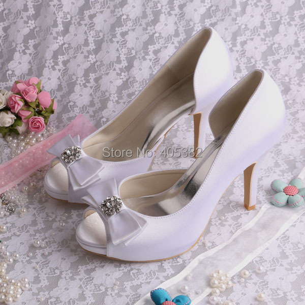 (20 Colors) Custom Handmade White Wedding Shoes Open Toe Lady Bridal Sandals Shoes with Bows