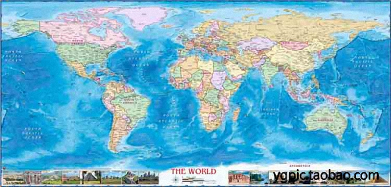 Color World English Map Sheepskin rolls pure cotton Microjet oil painting font b Science b font