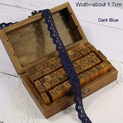 Zakka Стиль хлопковая кружевная лента швейная лента, бежевая Кружевная Сетка, крутая кружевная тесьма(17 мм x 50 ярдов - Цвет: Dark Dark Blue