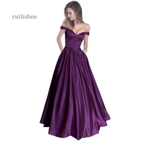 prom dresses Off the shoulder beaded satin evening dress prom dress with pocket