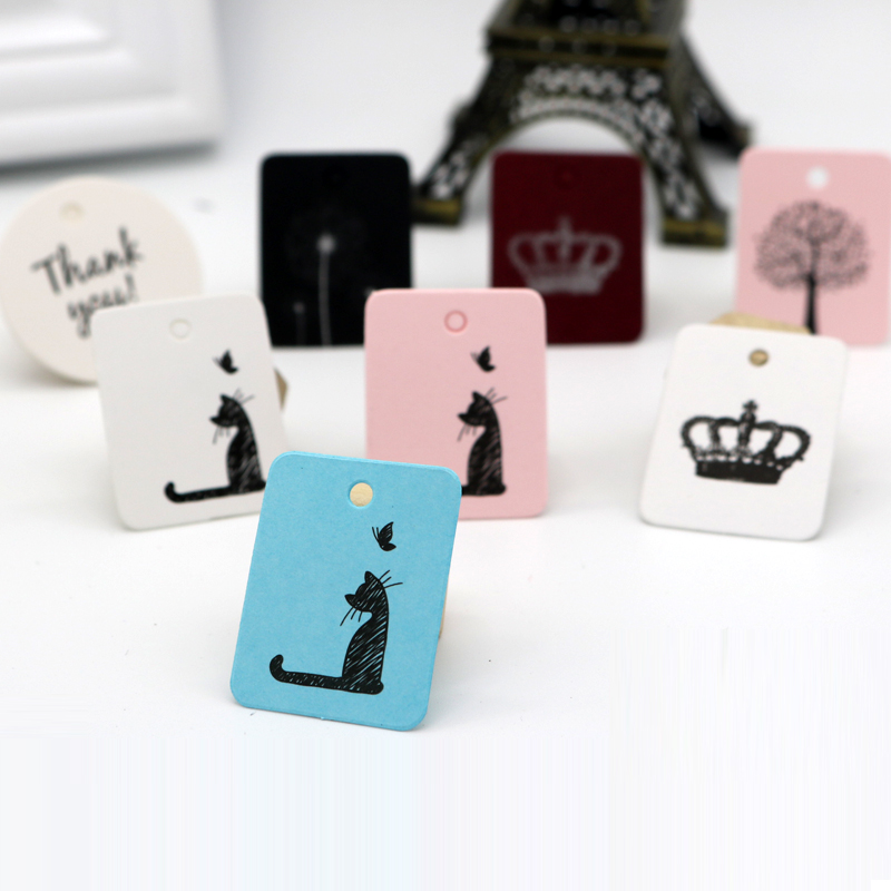 Kraft Paper Packaging Labels 100pcs/lot 2.6x3.3cm Print Cute Pattern Price Tag Jewelry Gift Packaging Cards Many Color To Choose
