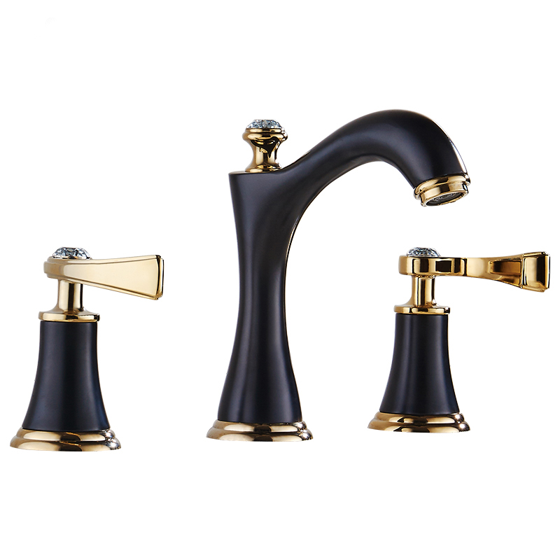 American black three hole retro basin faucet European style washbasin bathroom hot and cold split bathtub faucet LU41316 american black three hole retro basin faucet european style washbasin bathroom hot and cold split bathtub faucet lu41316