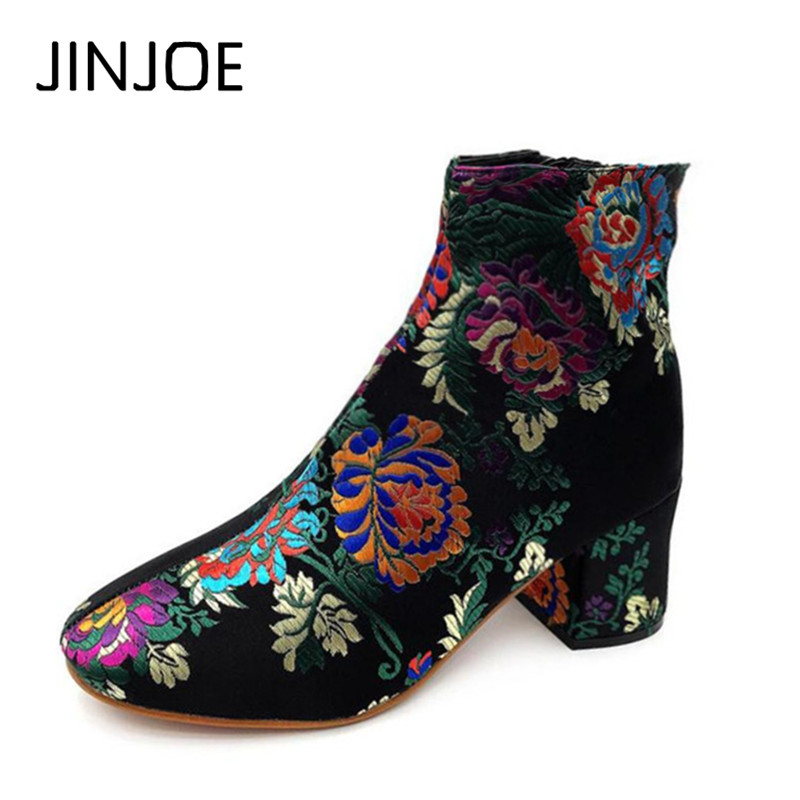 Winter New pattern shoes Woman The one and only fashion Major suit Retro Print Short boots Square toe Round Toe Women's Boots retro floral and butterflies pattern square shape flax pillowcase without pillow inner