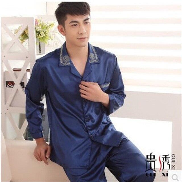 Pijamas de luxo para homens Outono de Cetim de Seda Sleepwear Masculino Sono Pijamas Azuis Cardigans dos homens Sono Salão Conjuntos De Pijama De Seda 3XL