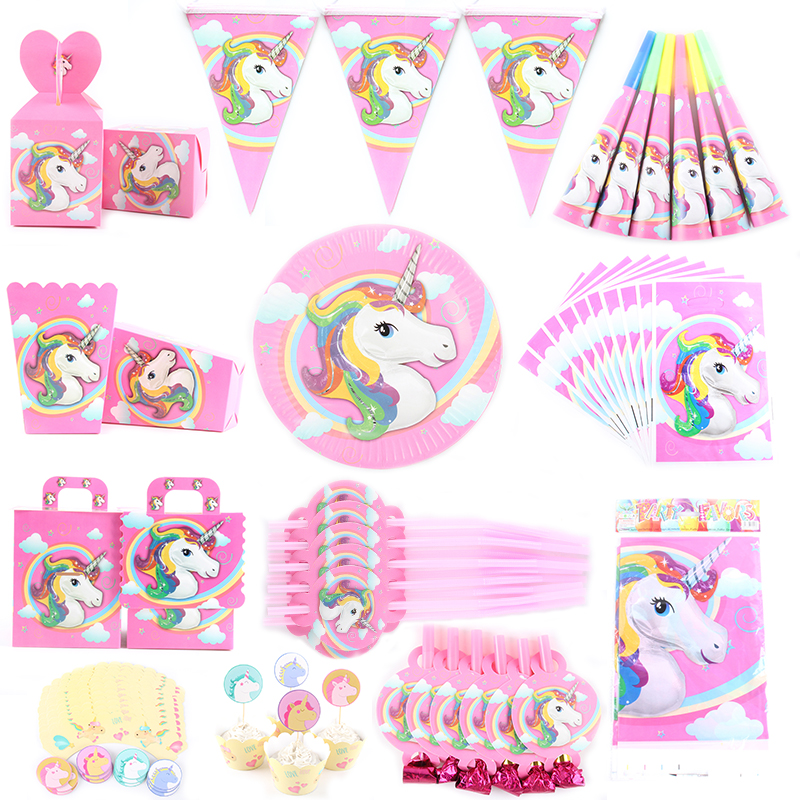 Unicorn Theme Cartoon Party Set Balloon Tableware Plate Napkins Banner Birthday Candy Box font b Baby