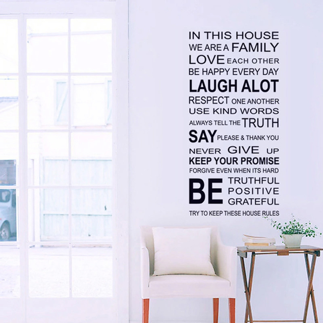 in this house we are family quotes wall sticker living room bedroom